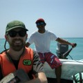 Chris and William Tulum Boat